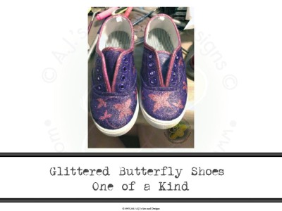 Glittered Butterfly Shoes One of a Kind
