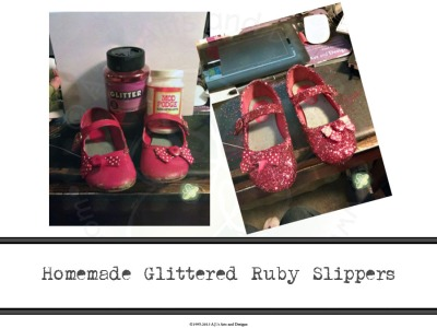 Homemade Glittered Ruby Slippers