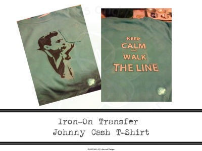 Iron-On Transferr Johnny Cash T-Shirt