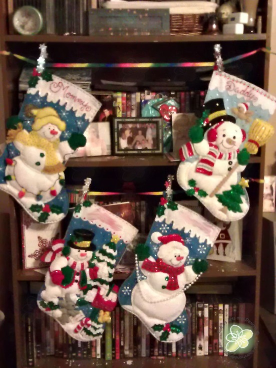 Stocking Hung on the DVD Shelf With Care