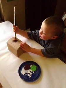 Painting his treasure chest!  Blog post will follow soon!