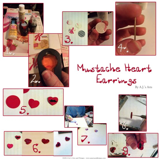 Mustache Heart Earring Tutorial