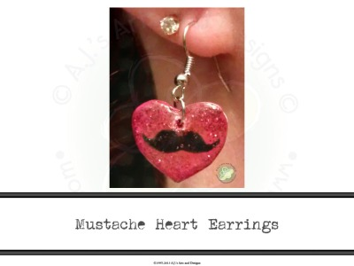 Mustache Heart Earrings