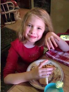 The Princess eating her Cinnamon Bun