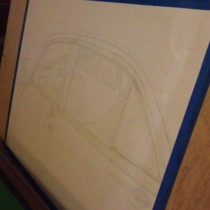 The sketched car masked and ready for pencils (Derwent Inktense and Watercolor Pencils)