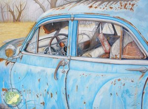 "This is the Rusty Blue Car 30"" x 22"" drawing I just finished."