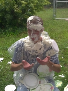 Jeff is such a great sport he let 22 first graders (and some adults) throw Whipped Cream Pies at him.  HUGE HIT!