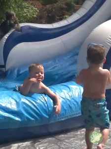 We went to a School's Out Party and they had a giant inflatable water slide.