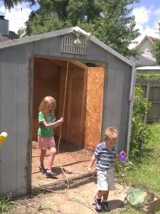 The helpers inspecting our handy work