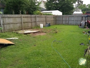 What the backyard looks like with no shed.  Now to remove the wood and finish the power washing.