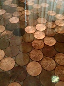 Close up of the pennies