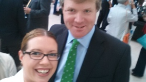 Selfie with Duncan Sands - yes it is blurry and I don't care.  As you can see he was quite amused by my excitement.