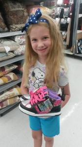 "I really think someone called the Princess and said, ""Hey if I was to design a pair of shoes for you, what would they be?""  They have everything, glitter, rainbows, zebra and leopard print with neon pink laces."